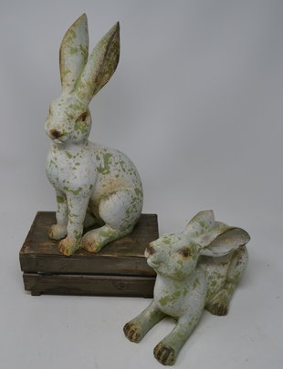Set of 2 Aged Green Bunnies