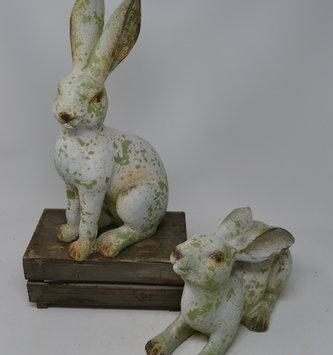 Set of 2 Aged Green Rabbits