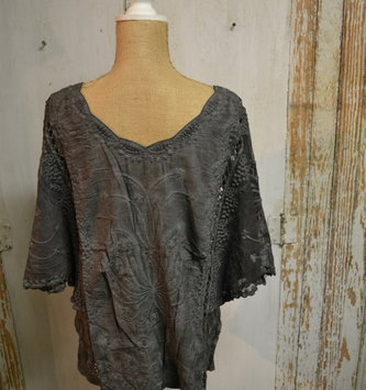 Embroidered Sheer Sleeve Top (2 Colors)