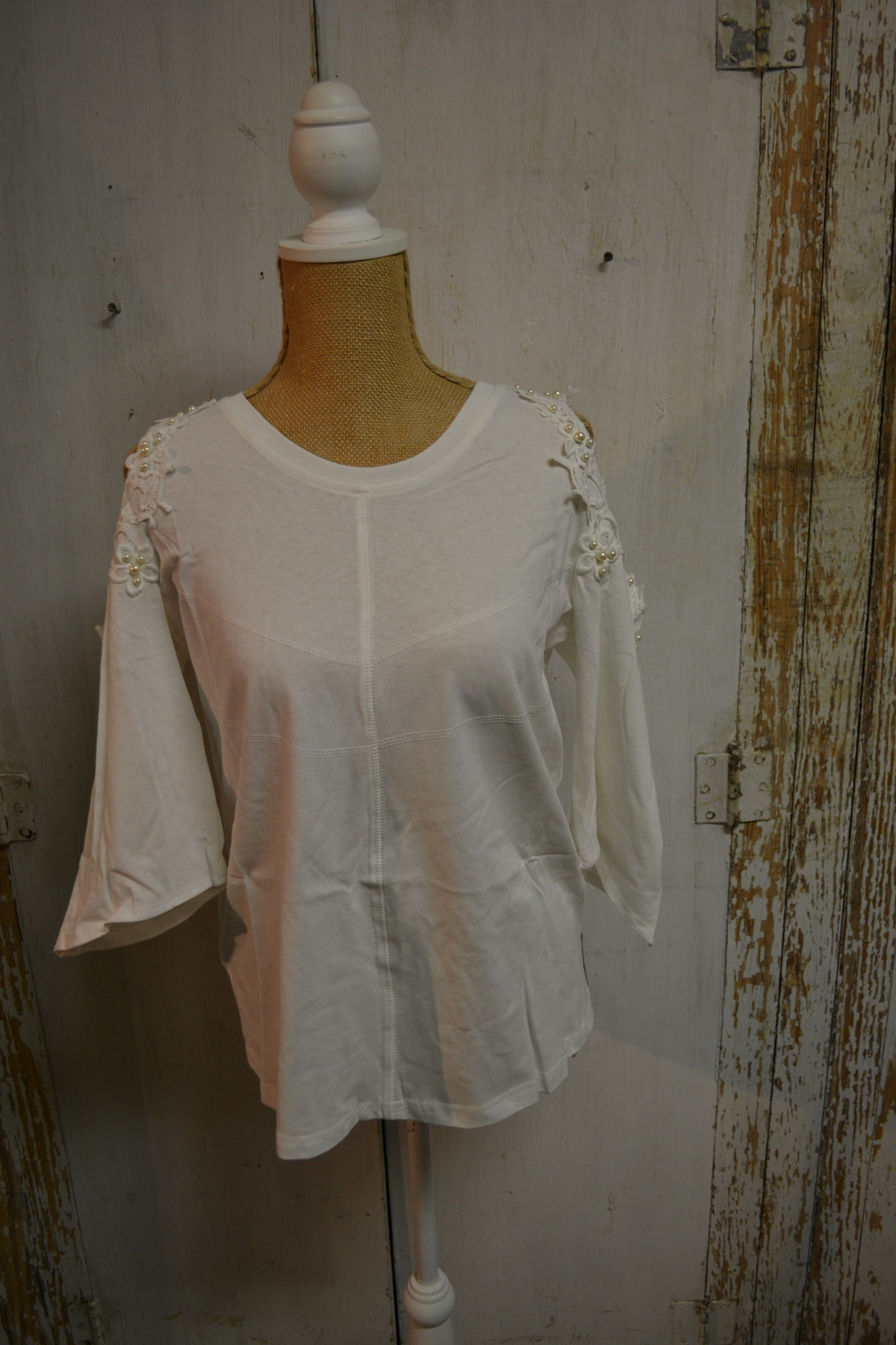 White Pearl Cold Shoulder Top
