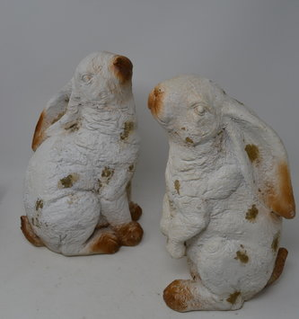 Set of 2 White Rustic Bunnies
