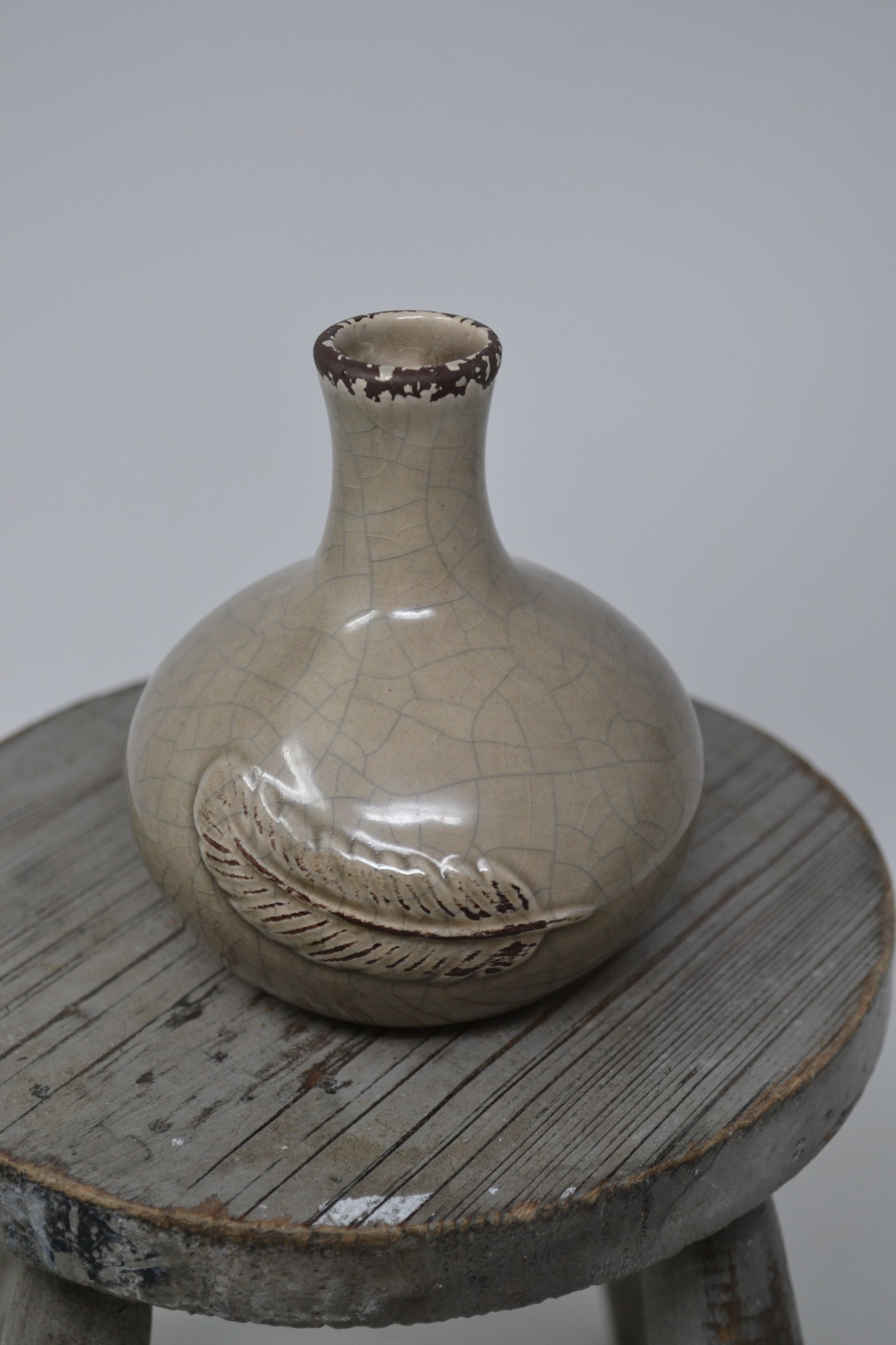 Crackle Feather Vase