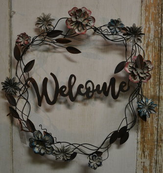 Welcome Metal Flower Wreath