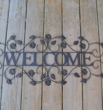 Black Metal Welcome Wall Art