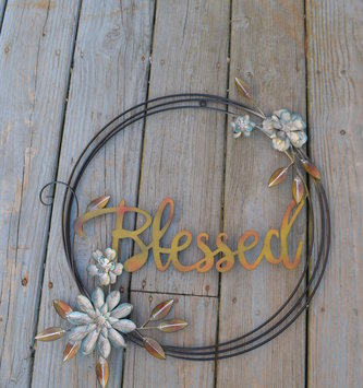 Metal Blessed Wreath Wall Art