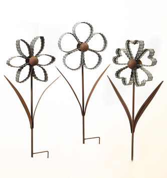 3D Rustic Galvanized Flower Stake (3 Styles)