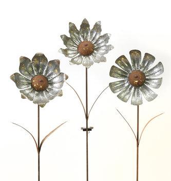 Large Solar Galvanized Flower Yard Stake (3 Styles)