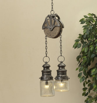 Battery Operated Double Lantern Pulley Light