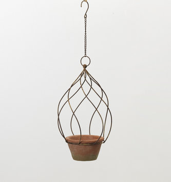 "11"" Metal Hanging Planter w/ Pot"