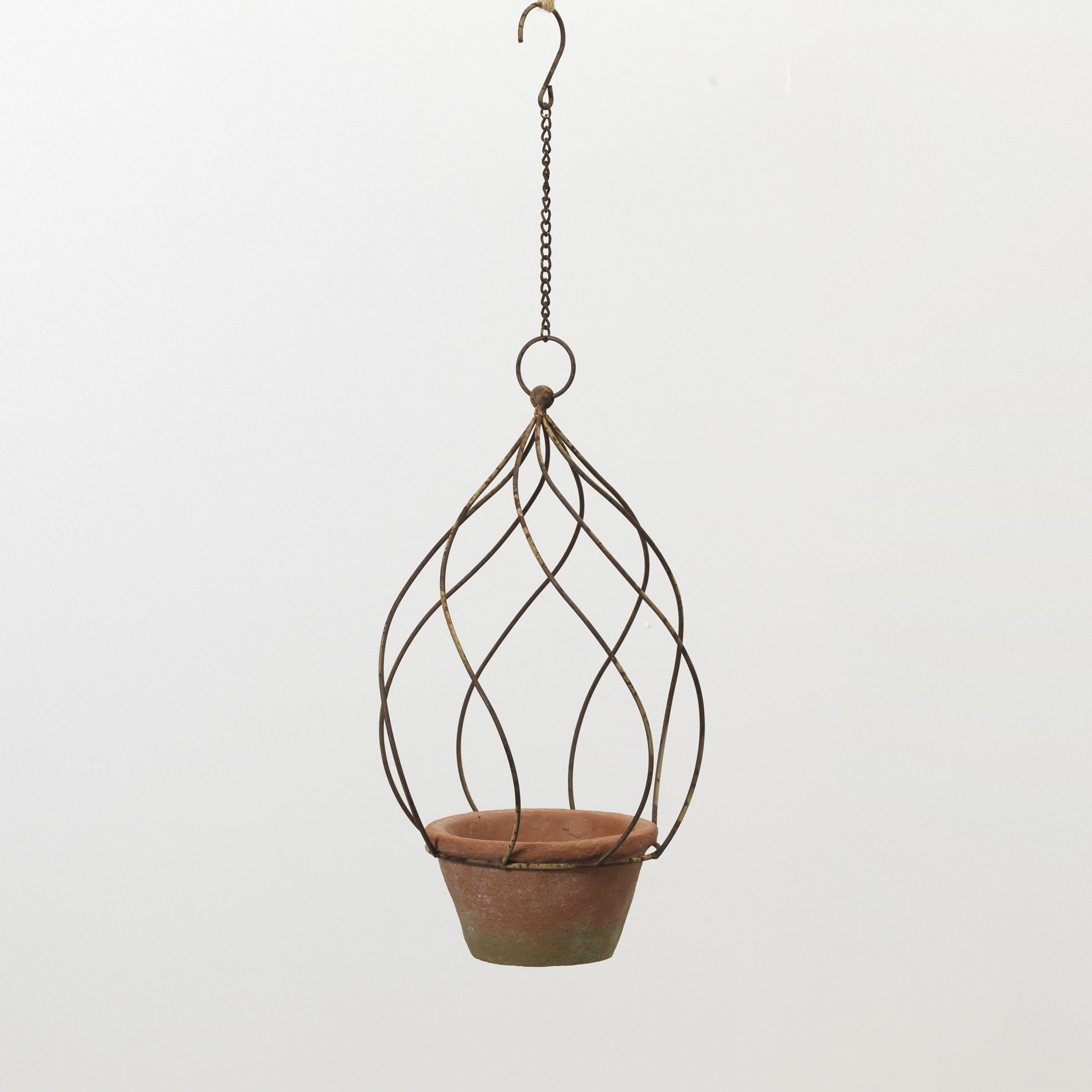 "11"" Metal Hanging Planter with Pot"