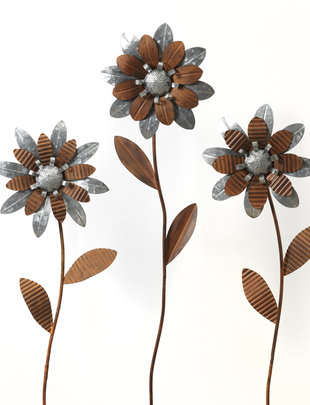 Brown & Silver Flower Stake (3 Styles)