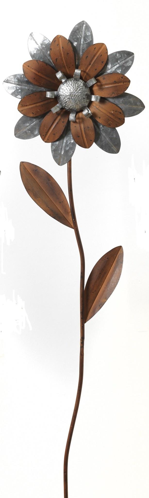 Brown & Silver Flower Stake