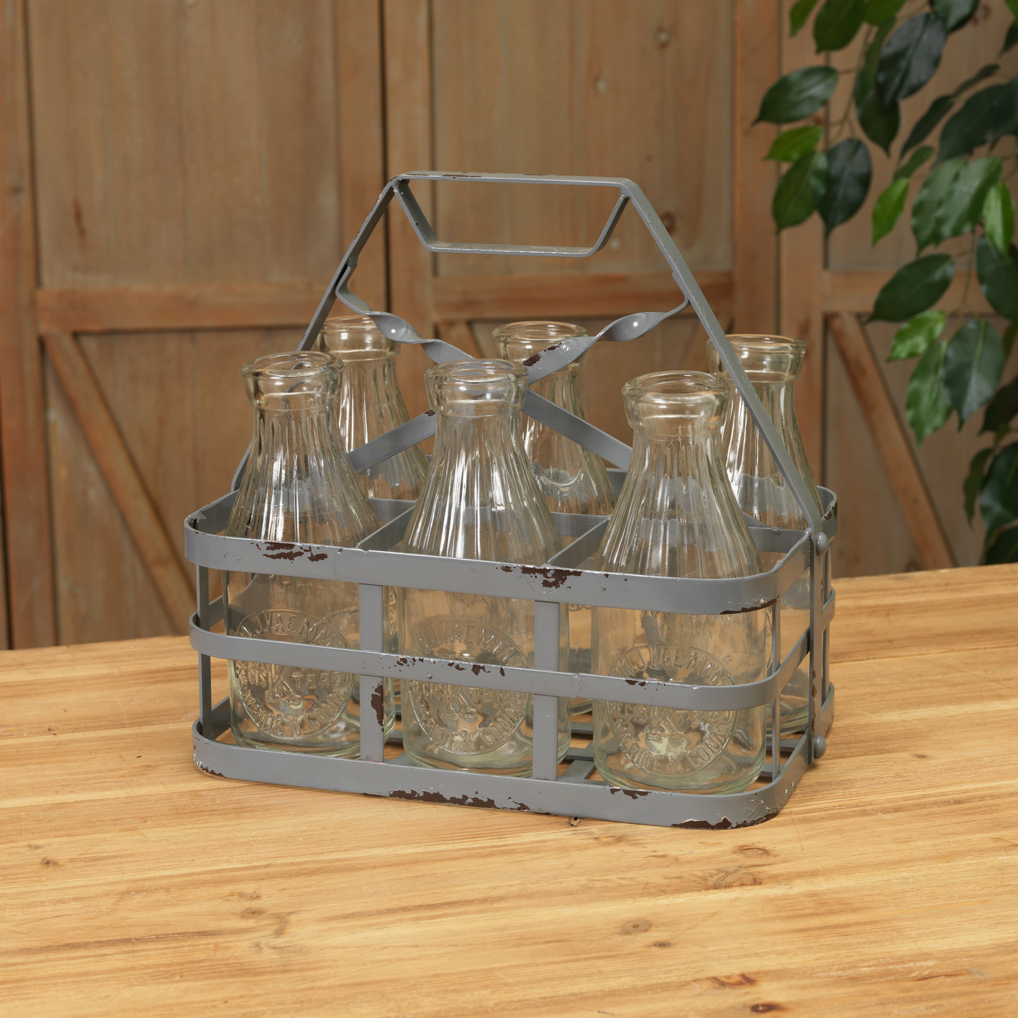 Antiqued Metal Basket Caddy with 6 Bottles