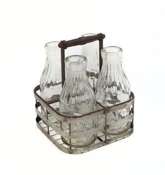Antiqued Metal Basket Caddy with 4 Bottles