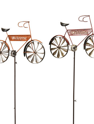 Welcome Bicycle Spinner Stake (2- Colors)