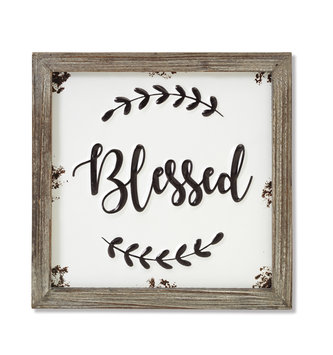 Blessed Wood Frame Square Sign