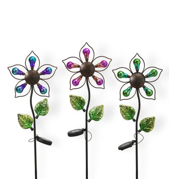 Solar Lighted Colorful Flower Stake (3 Styles)