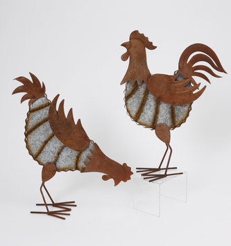 Rustic Galvanized Standing Rooster (2 Styles)
