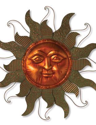 Open Verdi-Gris Metal Sun Face