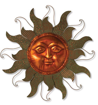 Open Verdi-Gris Metal Sun Face