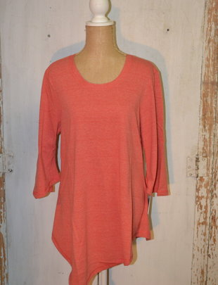 3/4 Bell Sleeve Coral Swing Top