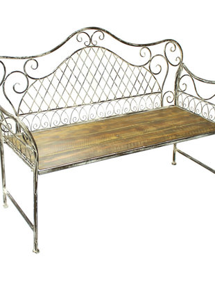 Distressed Metal Scroll Bench