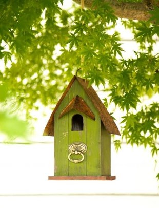 Rustic Green Birdhouse w/ Metal Perch