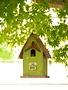 Rustic Green Birdhouse w/ Metal Perch