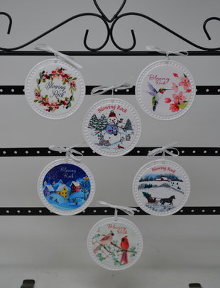 Round White Blowing Rock Ornament (6 Styles)