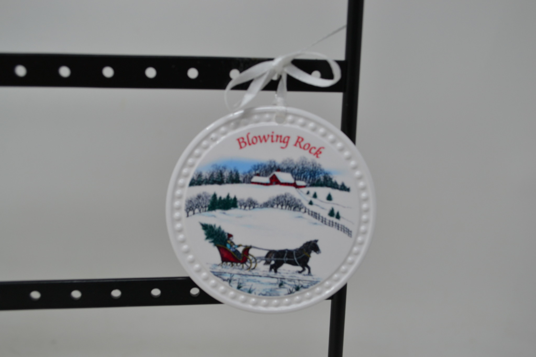 Round White Blowing Rock Ornament