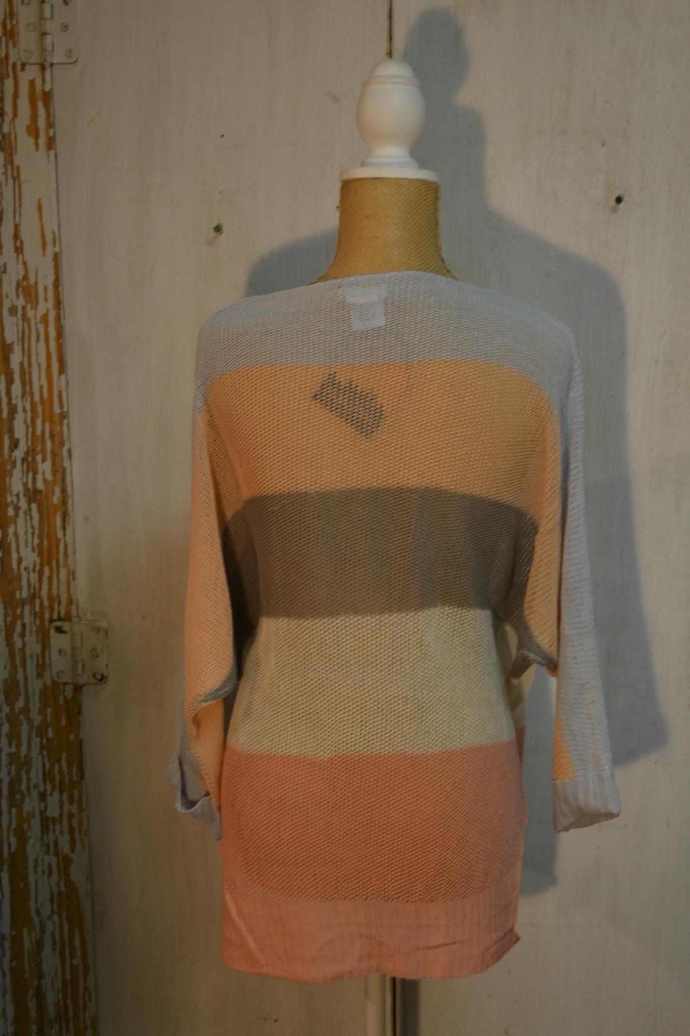 Multicolor Stripe Long Sleeve Knit Sweater