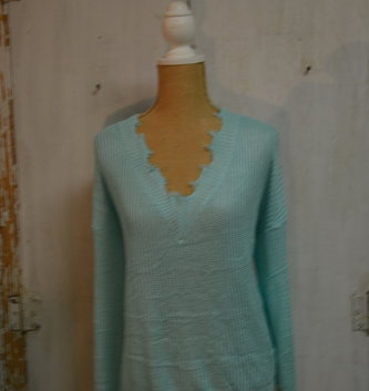 Frayed V-Neck Sweater