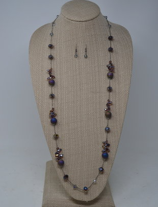 Mystical Purple Beaded Necklace Set