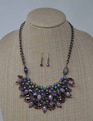 Mystical Purple Bib Necklace Set