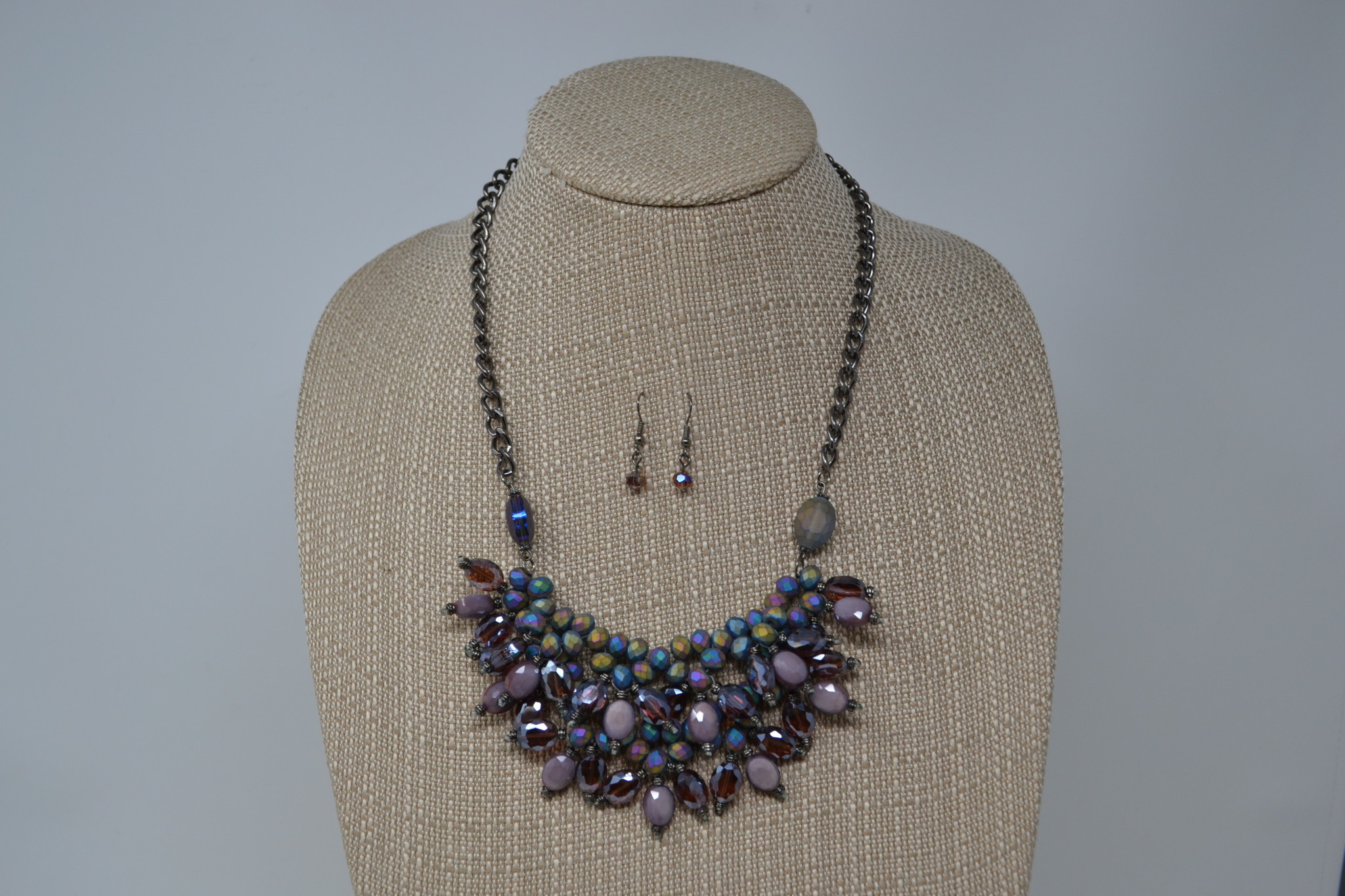 Mystical Purple Bib Necklace Set