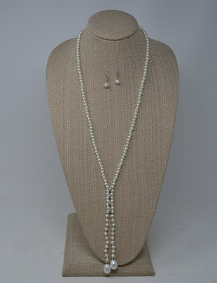 Lariat Style Pearl Necklace Set