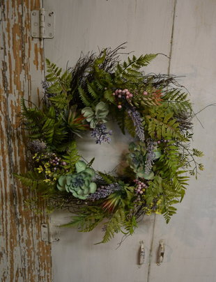 "24"" Mixed Lavender Succulent Wreath"