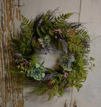 "24"" Mixed Lavender Succulent Wreath"