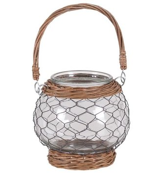 Willow Chicken Wire Candle Holder