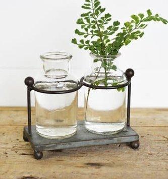 Galvanized Double Vase Holder