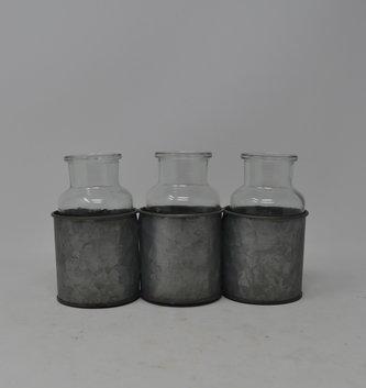 Galvanized Triple Vase Holder