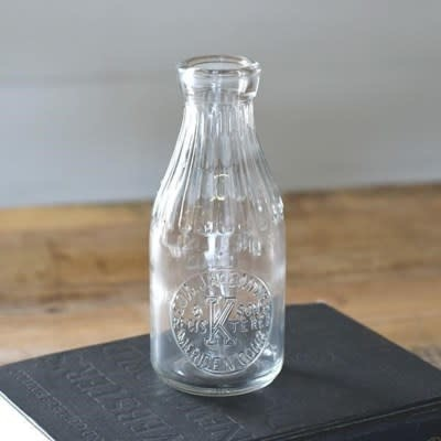 "7"" Vintage Glass Milk Bottle"