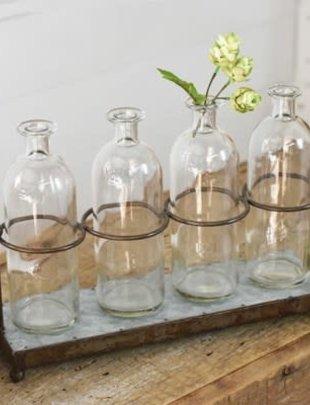 Galvanized 4-Bottle Holder