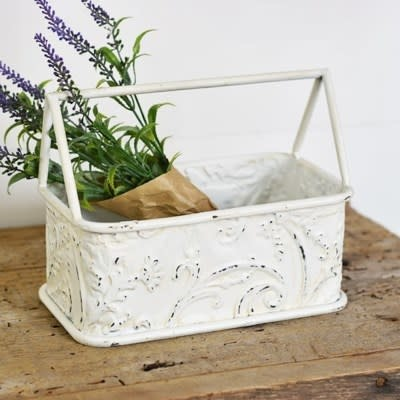 Cream Vintage Patterned Caddy
