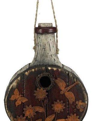 Rustic Wooden Bottle Birdhouse