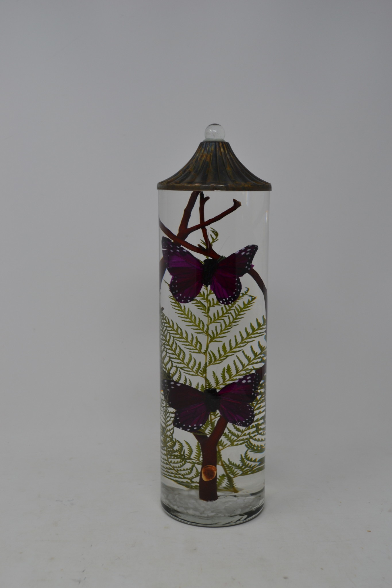 Tall Cylinder Purple Butterfly Lifetime Candle