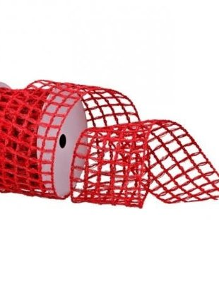 Red Tinsel Open Weave Ribbon