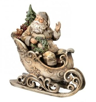 Natural Frosted Santa in Sleigh