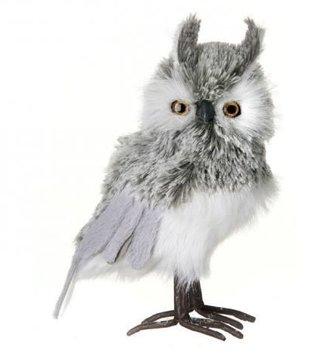 "9"" Gray & White Standing Owl"