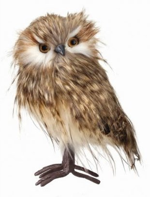 """9"""" Standing Speckled Feather Owl"""